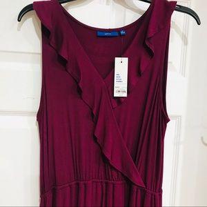 NWT Long burgundy flowing knit sleeveless dress